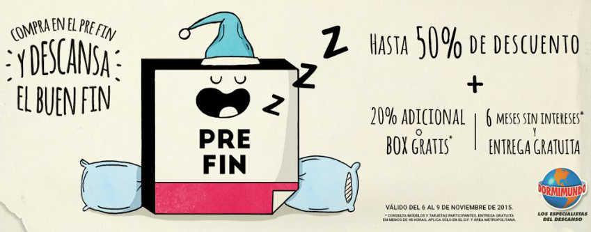 Pre Buen Fin 2015 Dormimundo Hasta 50% de descuento + 20% o Box gratis