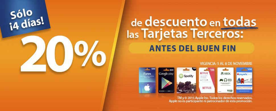 Pre Buen Fin 2015 en Chedraui: 20% de descuento en tarjetas de regalo (iTunes, Google y más)