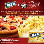 Promoción Pizza Hut Act II Palomitas gratis