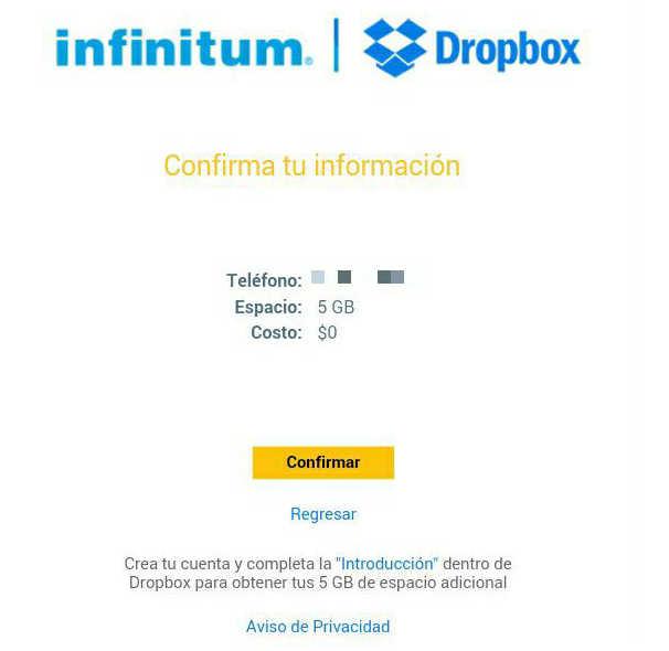 Telmex Gratis espacio en Dropbox clientes Infinitum