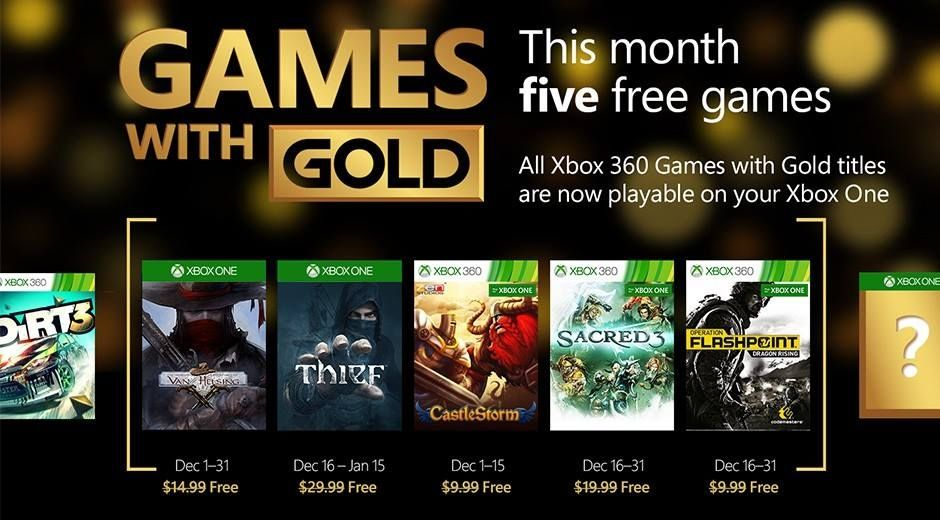 Xbox Games with gold de Diciembre 2015
