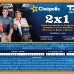2x1 en Cinepolis Con tarjeta TDU