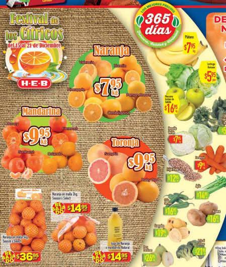 Frutas y verduras HEB Diciembre 2015