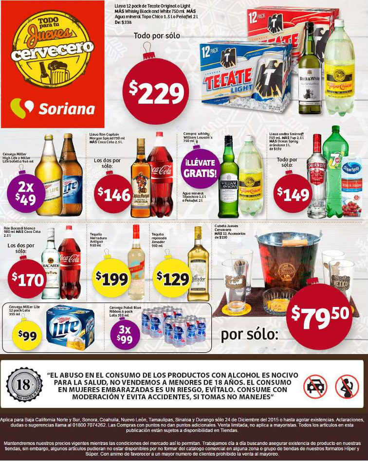 Soriana jueves cervecero 24 de diciembre