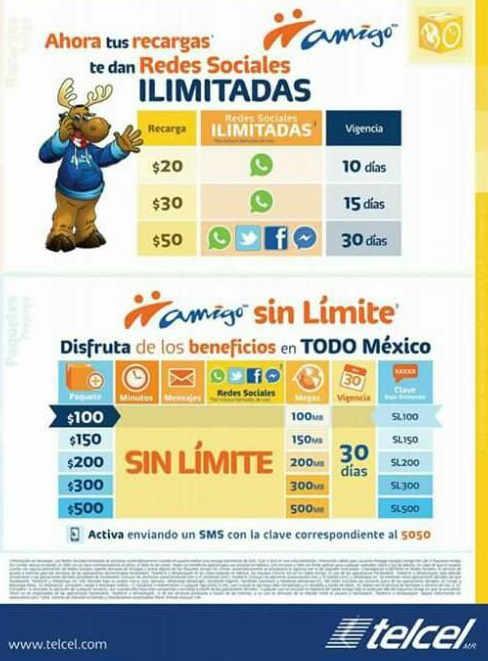 Telcel WhatsApp, Facebook y Twitter ilimitados
