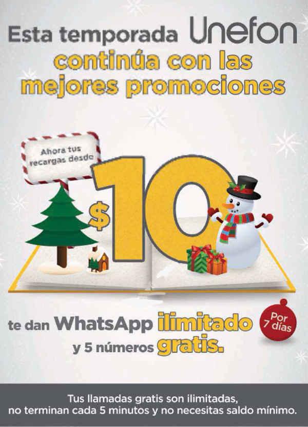 Unefon whatsapp ilimitado y 5 números gratis