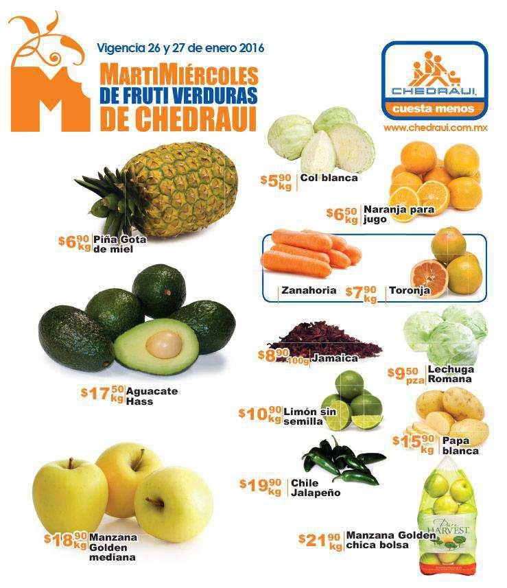 Chedraui frutas y verduras Enero 2016