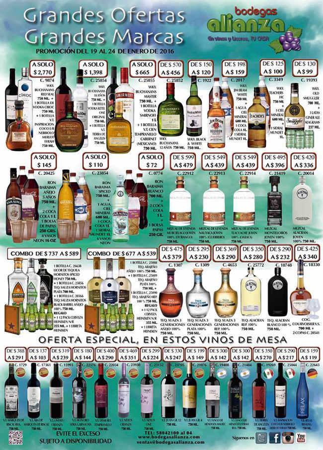 Bodegas Alianza ofertas de vinos y licores enero