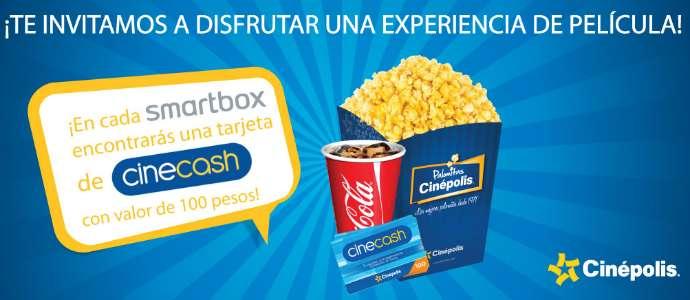 Cinépolis Tarjeta Cinecash Gratis con paquete Smartbox