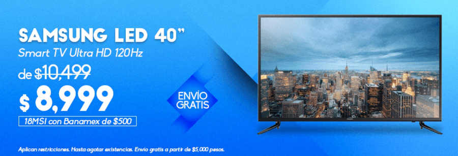 "Famsa Pantalla Samsung LED 40"" Smart TV UHD"
