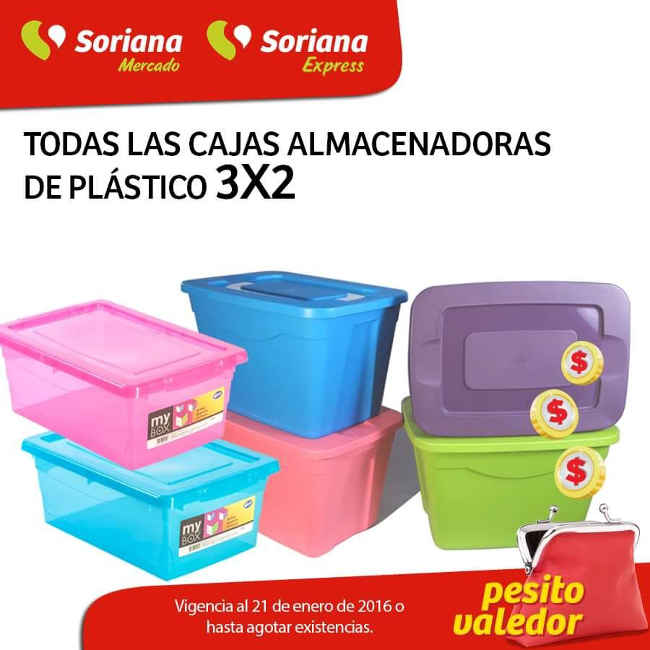 Soriana Mercado cajas almacenadoras