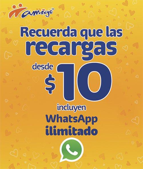 Telcel WhatsApp Ilimitado Recargas de $10