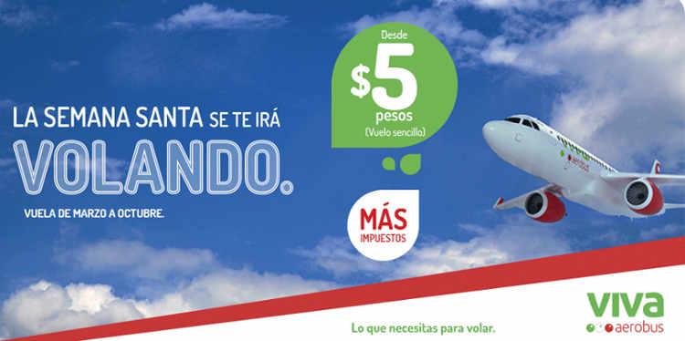 Vivaaerobus vuelos desde $5 pesos mas impuestos
