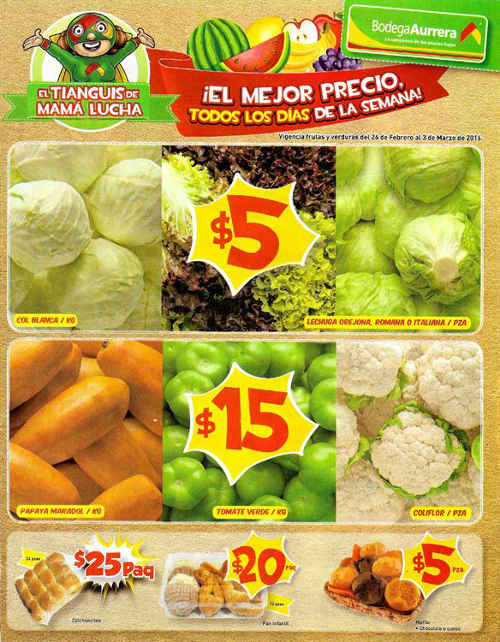 Bodega Aurrera carnes, frutas y verduras