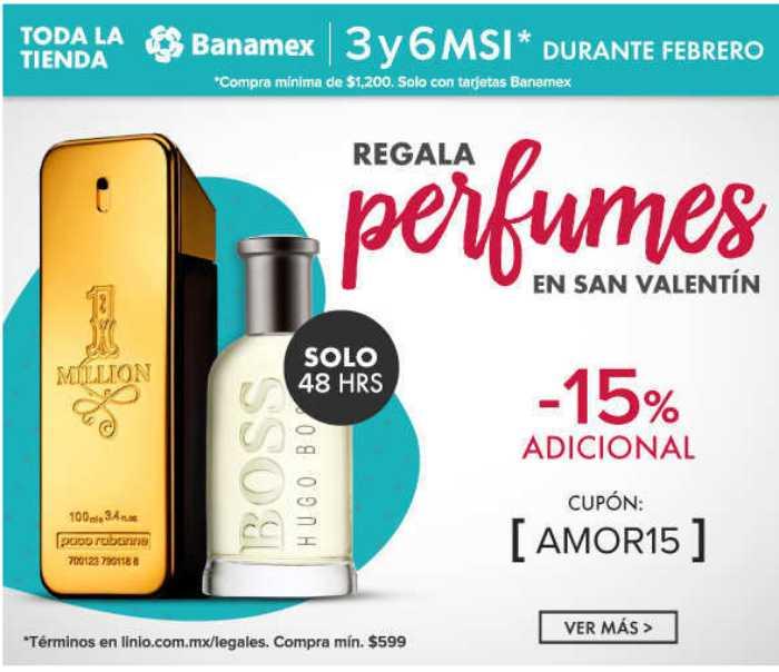 Linio cupón 15% de descuento en perfumes