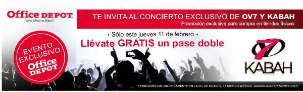 Office Depot boletos gratis para concierto OV7 Y KABAH