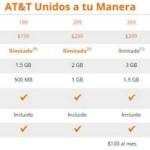 AT&T planes unidos a tu manera minutos ilimitados desde 2 GB para navegar