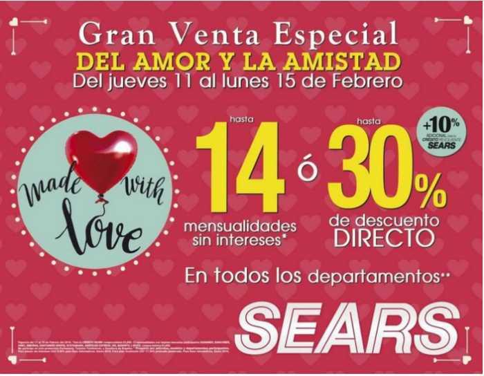 Sears gran venta especial del amor y la amistad al 15 de febrero