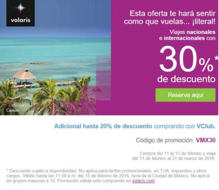 Volaris 30% de descuento en viajes nacionales e internacionales