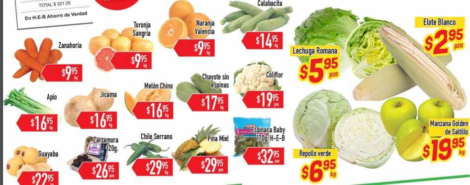 HEB frutas y verduras