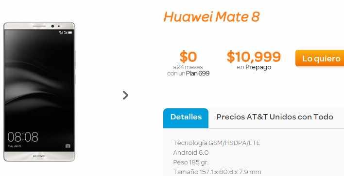 Promoción AT&T Huawei Mate 8