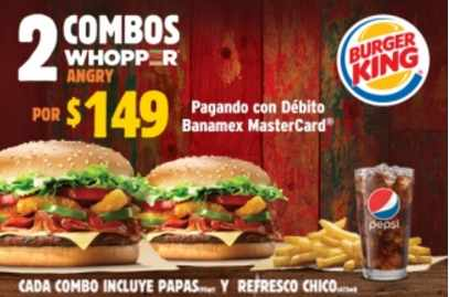 Burger King 2x1 en Combos Whopper Angry con tarjetas débito Banamex