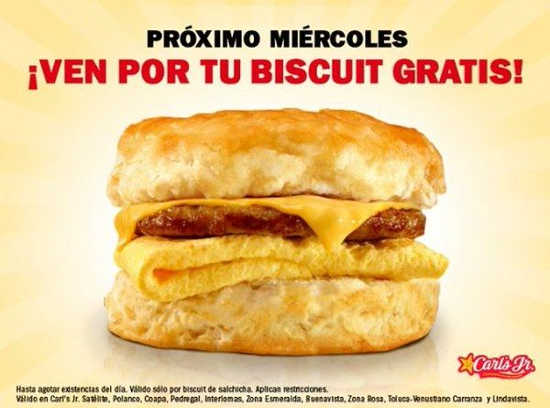 Carl's Jr biscuits gratis