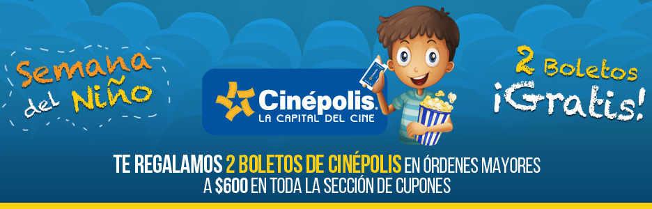 clickOnero boletos gratis para Cinépolis día del niño