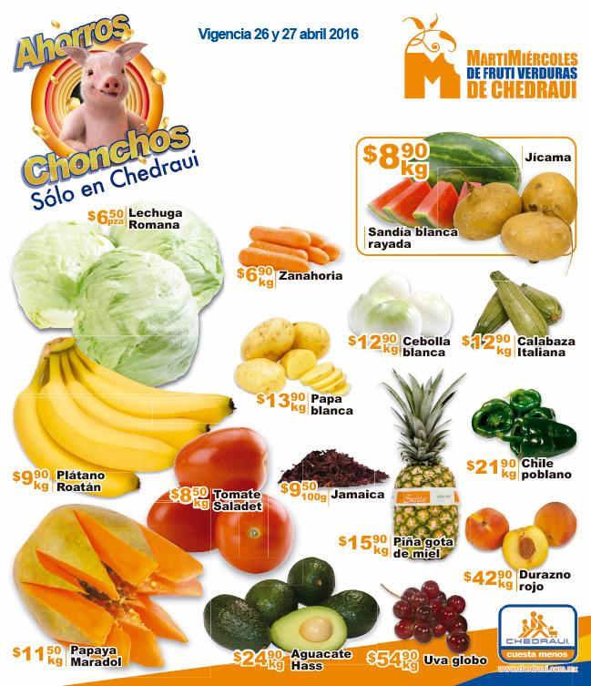 Frutas y verduras Chedraui Abril