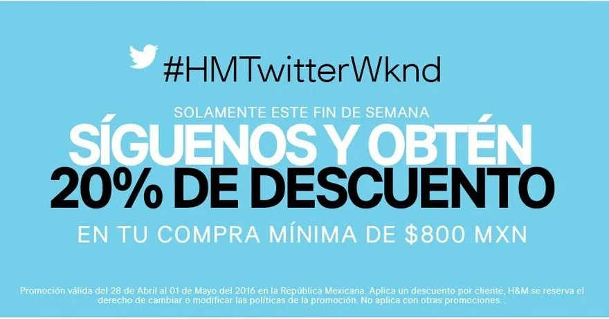 H&M descuento con Twitter