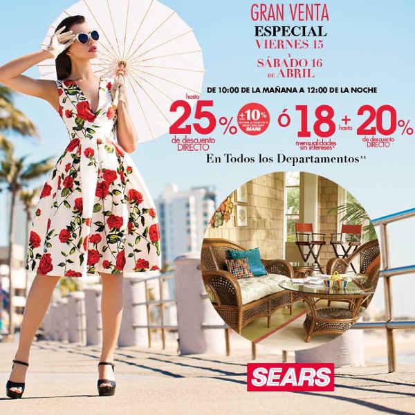 2e7f7bb52 Sears  Venta Especial 15 y 16 de Abril
