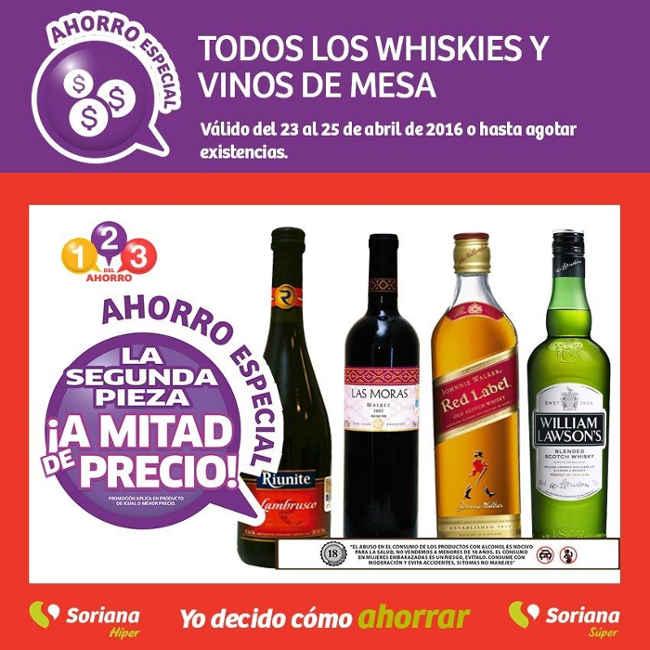 Soriana ofertas en Whiskys y vinos de mesa