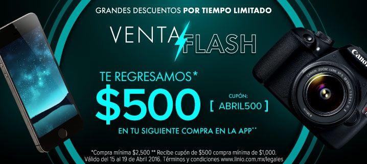 Venta Flash Linio: cupón de $500 con compra mínima de $2,500