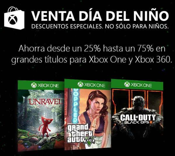 Xbox venta del día del niño descuentos para Xbox One y Xbox 360