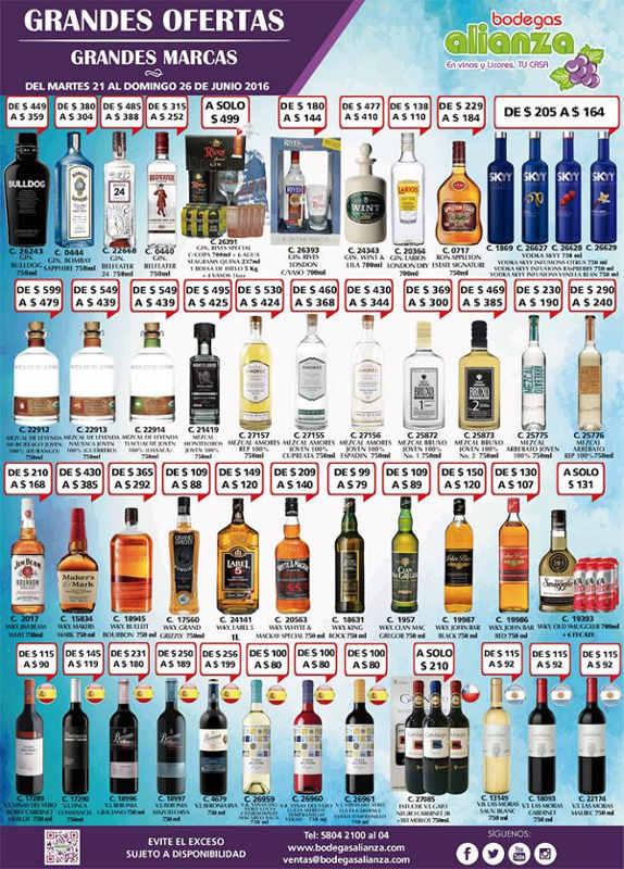 Bodegas Alianza ofertas de vinos y licores junio