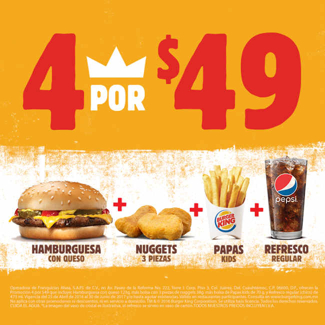 Burger King combo hamburguesa + nuggets + papas + refresco por $49