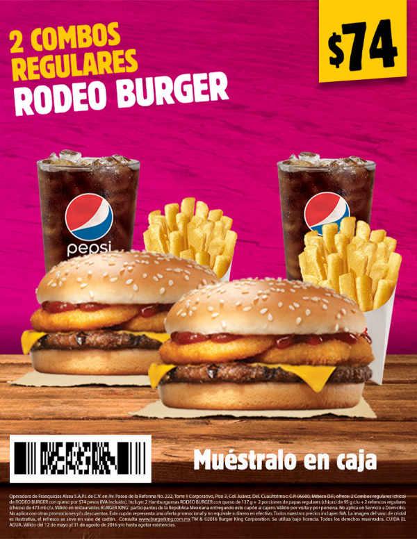 Burger king cup n de 2 combos regulares rodeo burger por 74 for Cuanto cuestan las albercas en walmart