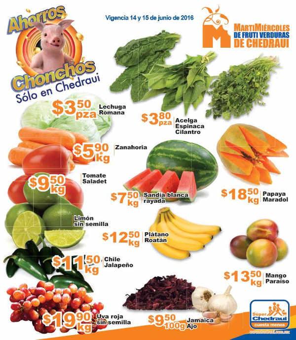 Frutas y verduras Chedraui Junio 2016