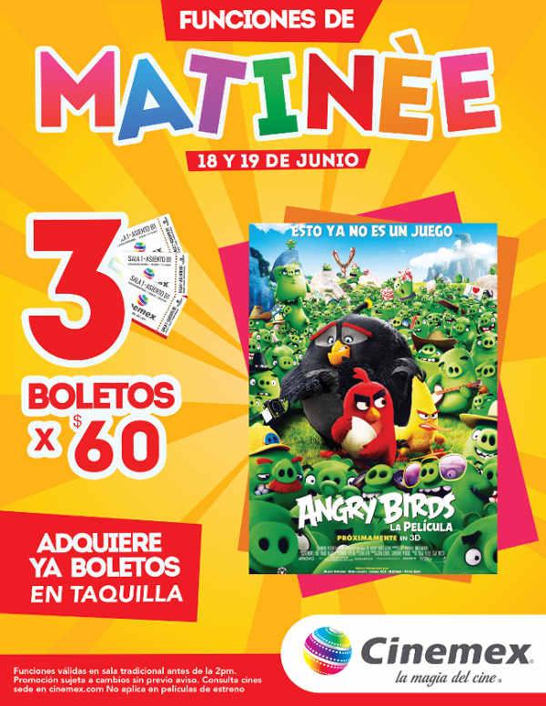 Cinemex funciones matineé Angry Birds