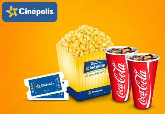clickOnero combo Cinépolis 2 boletos mas palomitas mas 2 refrescos
