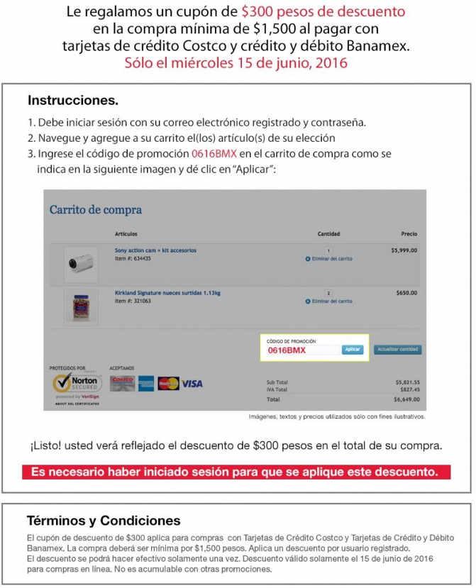 Costco cupón de $300 de descuento con tarjetas Banamex Costco