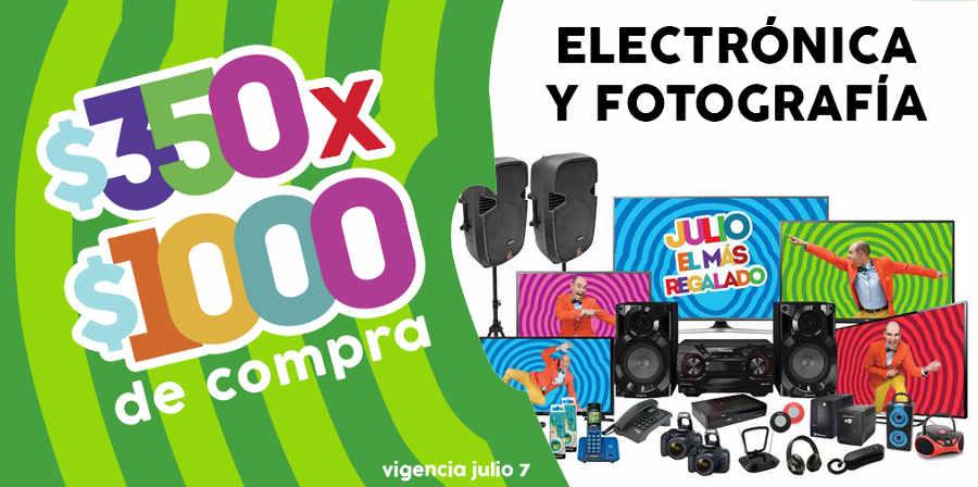 Julio Regalado $350 de descuento por cada $1,000 en Electrónica y Fotografía