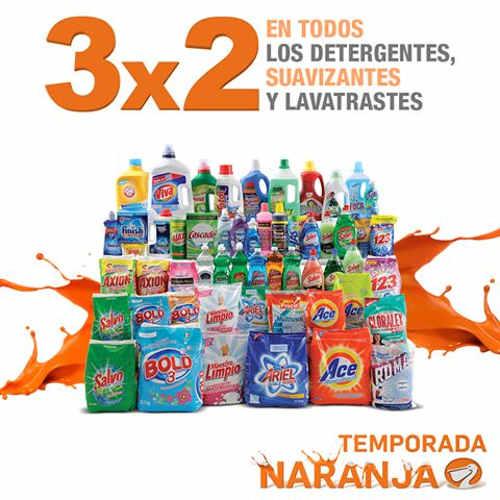 La Comer Temporada Naranja 3x2 en detergente, suavizantes y lavatrastes