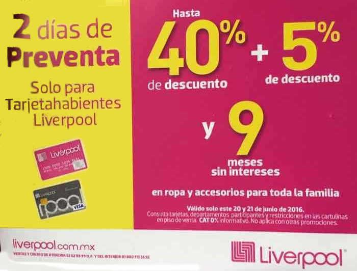 Liverpool preventa para tarjetahabientes Liverpool