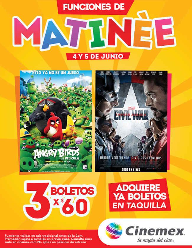 Cinemex funciones matinée de Angry Birds y Capitan America Civil War