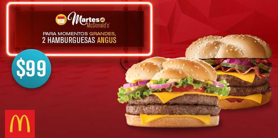 McDonald's cupón 2 hamburguesas angus