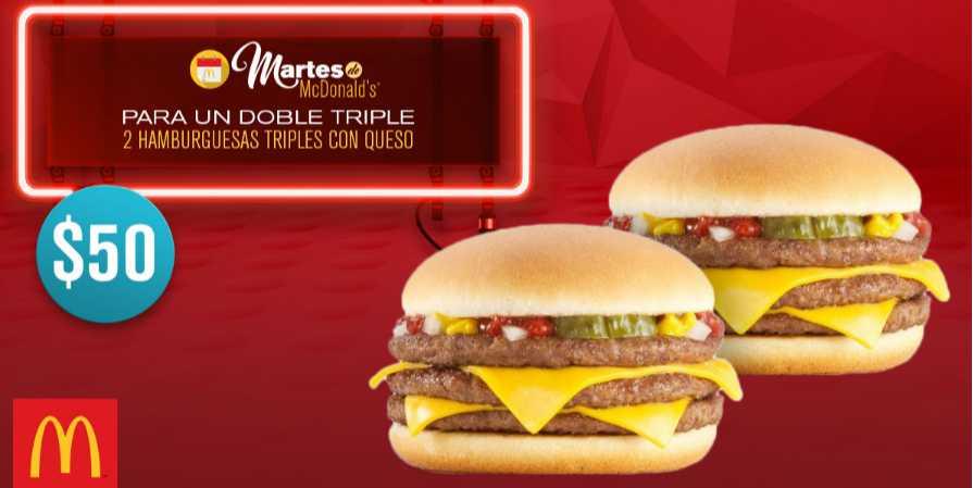 Mcdonald's cupón 2 Hamburguesas triples con queso