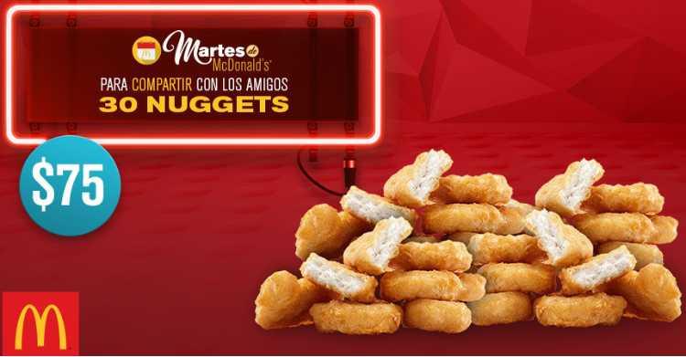McDonalds cupón 30 McNuggets por $75 junio 21