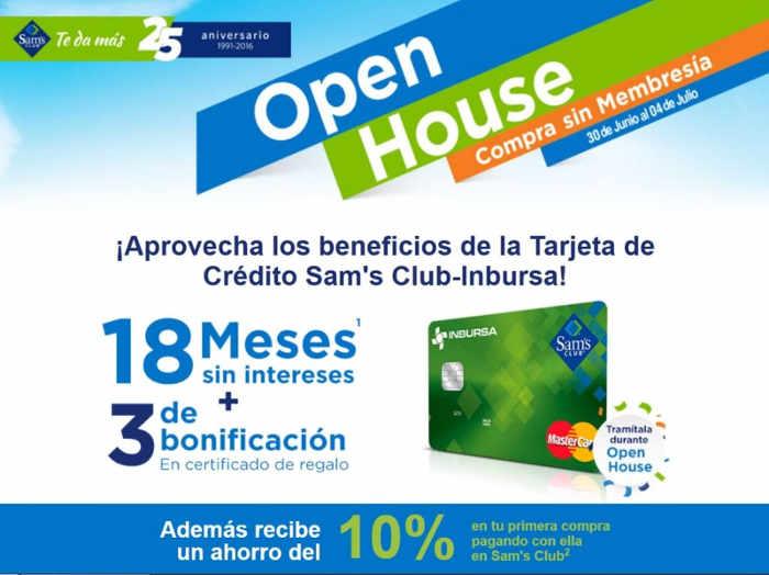 Open House Sam's Club 18 meses sin intereses y 3 de bonificación en certificado de regalo