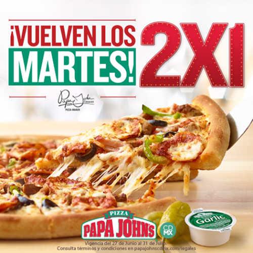 Papa John's Pizza 2×1 en pizzas los martes